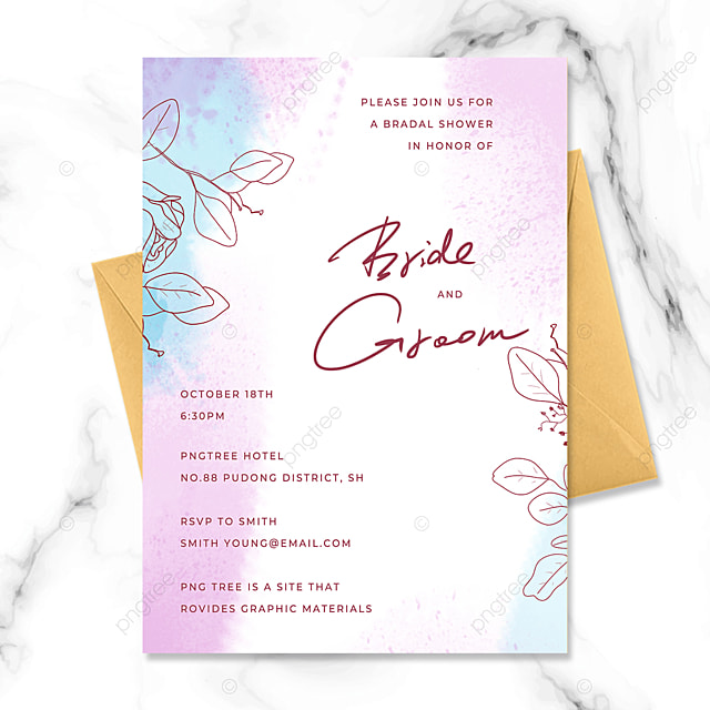 fashion modern hand painted floral watercolor smudge wedding invitation