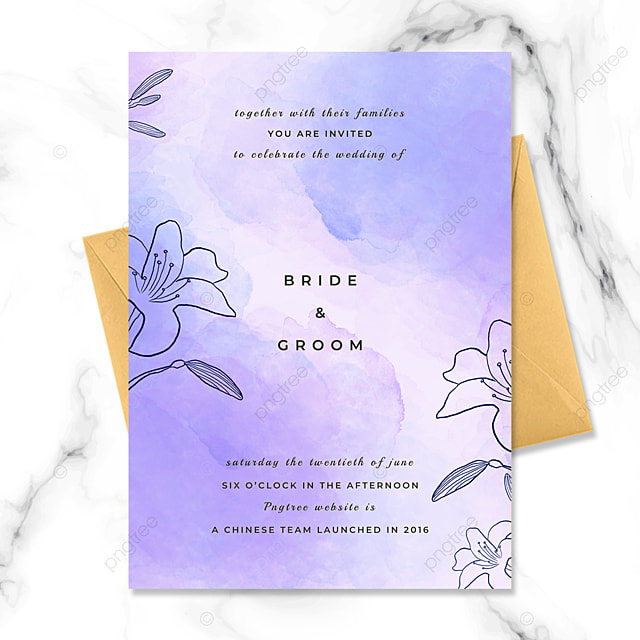 fashion purple hand painted flowers watercolor blooming wedding invitation