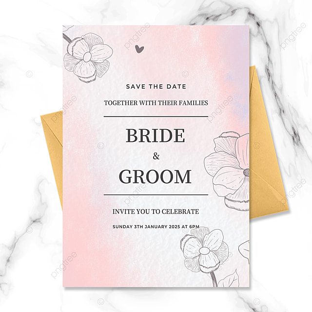 fresh and beautiful hand painted flowers watercolor blooming wedding invitation