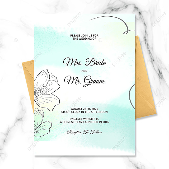fresh green hand painted flowers watercolor blooming wedding invitation