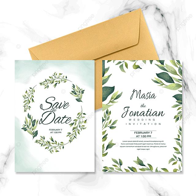 fresh leaf green wedding invitation