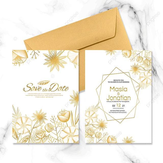 golden flowers wedding invitation