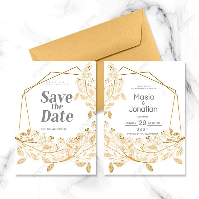 golden geometric plant border invitation