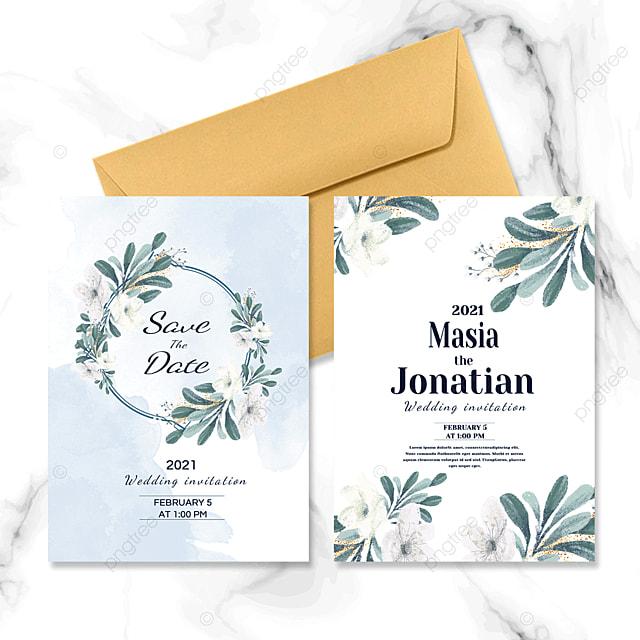green and fresh wedding invitation