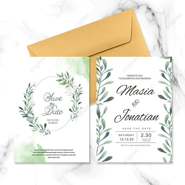 green leaf wedding invitation