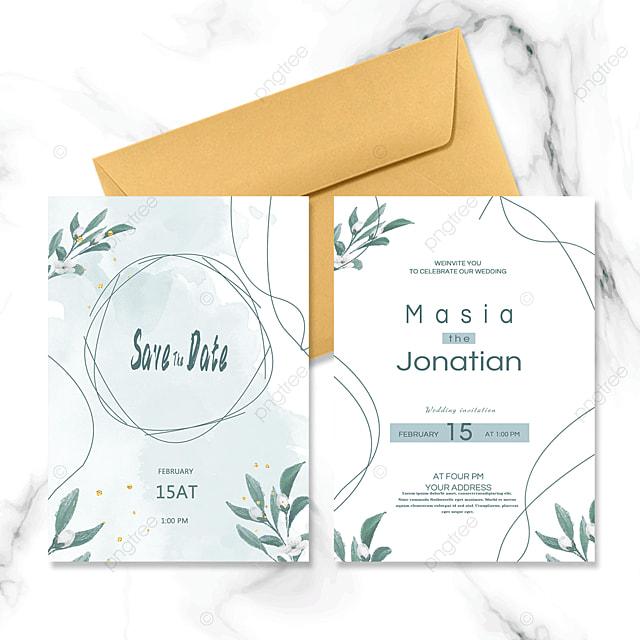 green line fresh wedding invitation