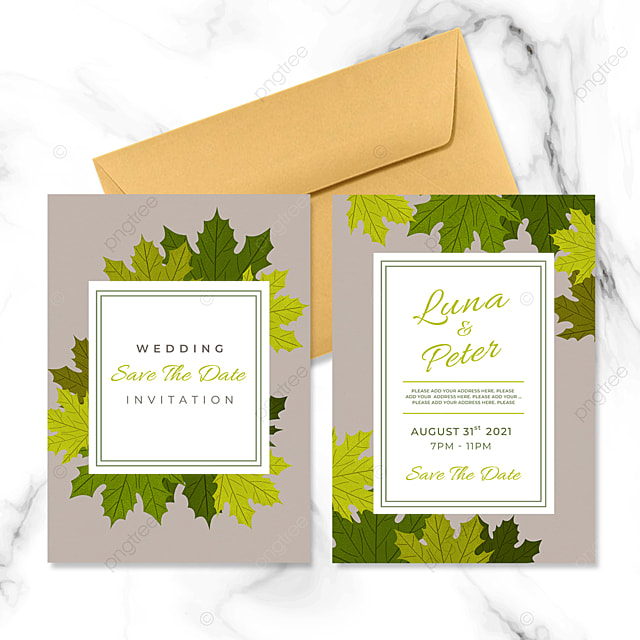 green maple leaf plant element wedding invitation