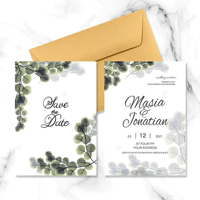 green natural light color wedding invitation