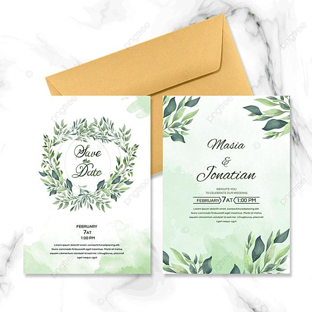 green nature leaf wedding invitation