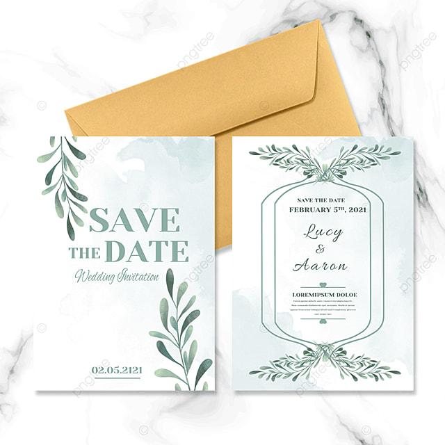 green nature wedding invitation