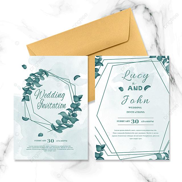 green plant border wedding invitation