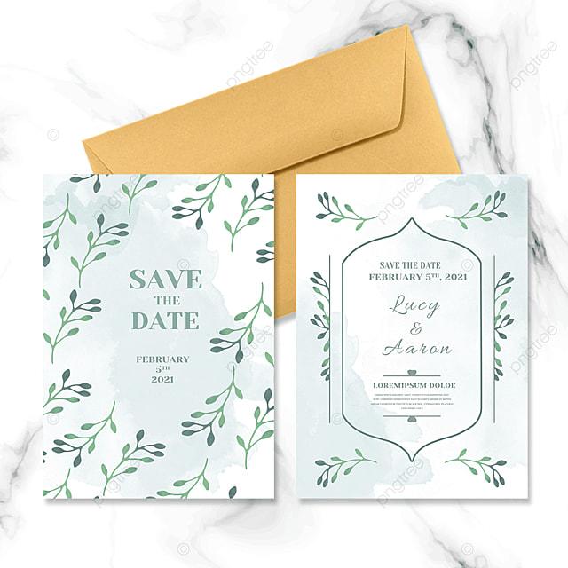 green plant wedding invitation