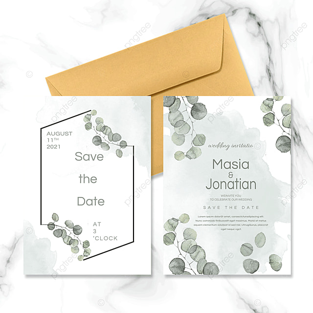 hand painted watercolor leaves wedding invitation