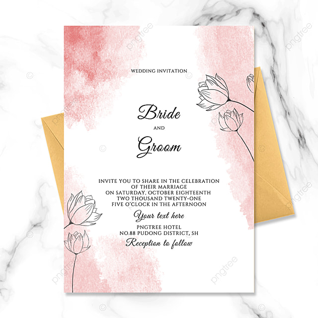 modern fashion hand painted floral watercolor smudge wedding invitation