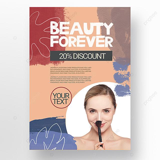 orange simple texture brush morandi personal beauty care poster promotion template
