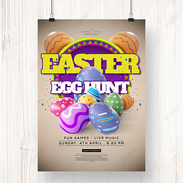 personality three dimensional cartoon easter egg festival poster
