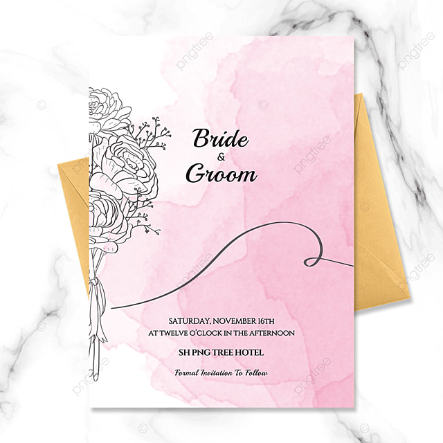 pink creative hand painted flowers watercolor blooming wedding invitation