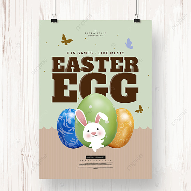 retro cartoon cute easter egg holiday poster