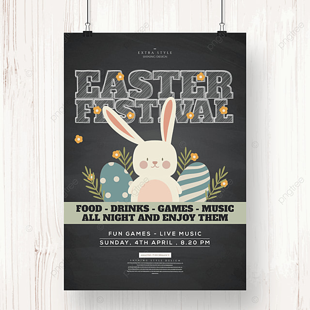 retro cute cartoon egg bunny easter poster