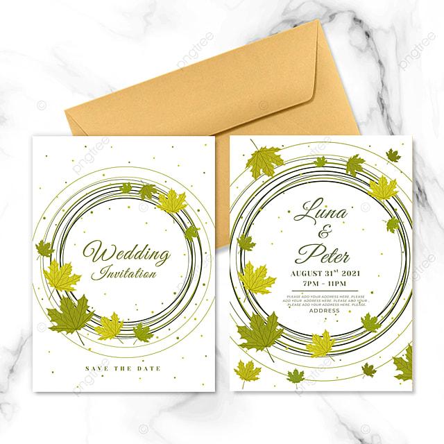 ring maple leaf plant element wedding invitation