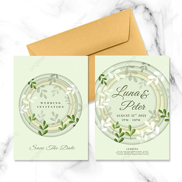 round paper cut style plant element wedding invitation
