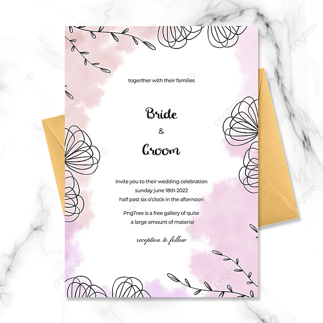 simple and modern hand painted floral watercolor blooming wedding invitation