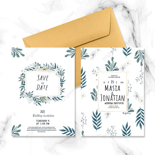 simple green plant wedding invitation