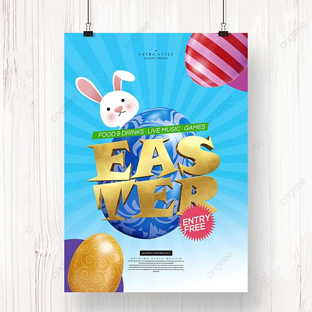 stylish cartoon easter egg holiday poster