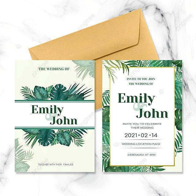 tropical greenery wedding invitation