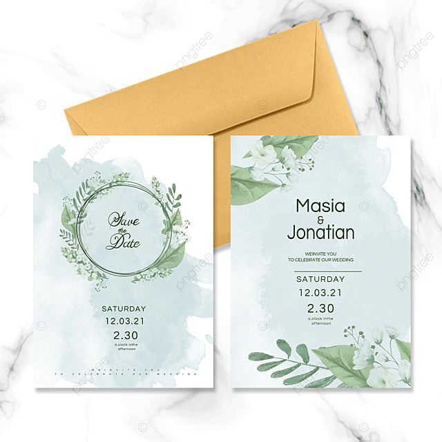 watercolor green wedding invitation