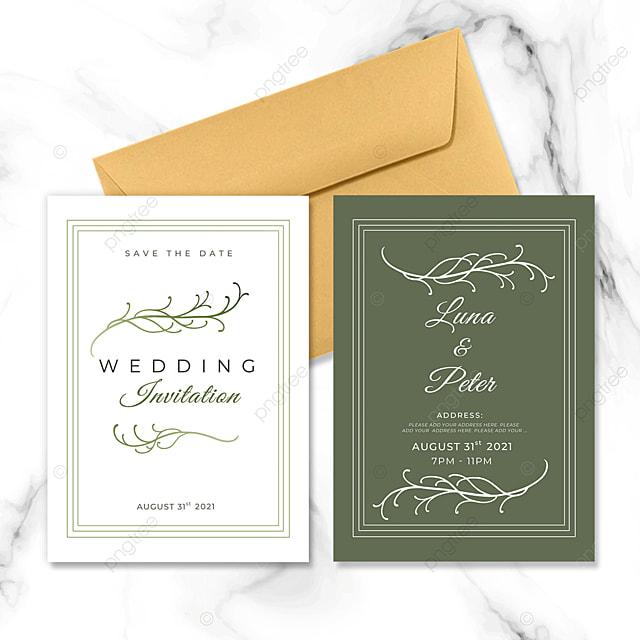 wedding invitation with vine green plant elements