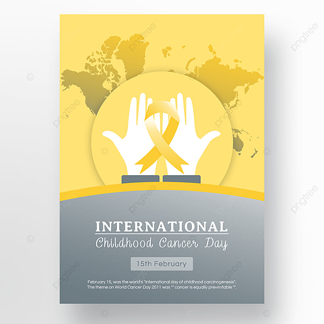 yellow ribbon international childrens cancer day public welfare poster