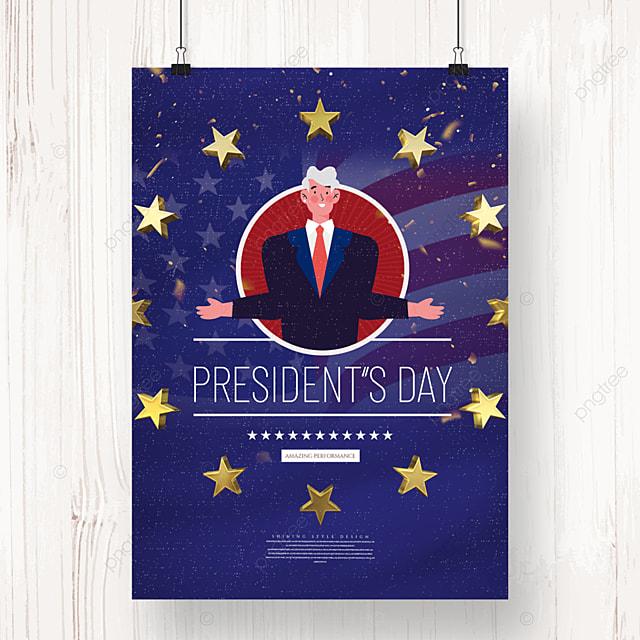 american presidents day cartoon minimalist holiday poster