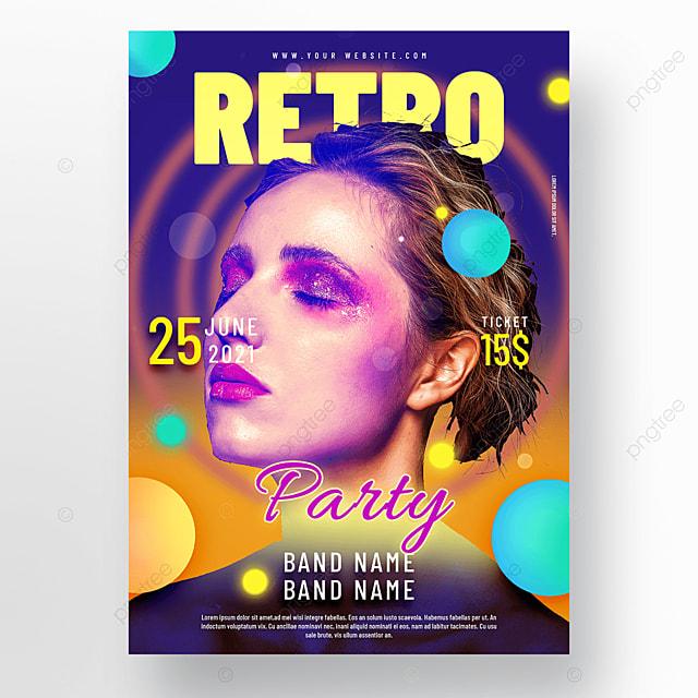 blue geometric neon light effect retro party poster