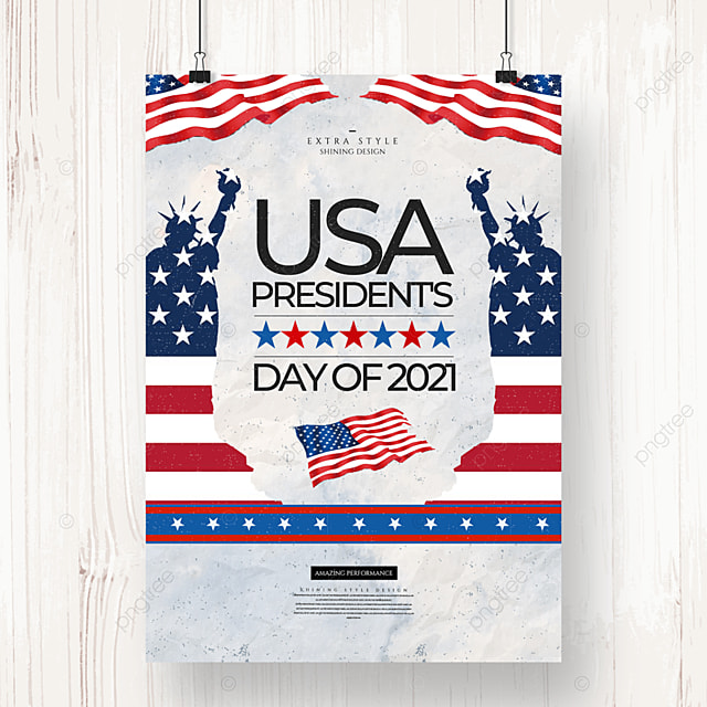 cartoon character retro american presidents day holiday poster