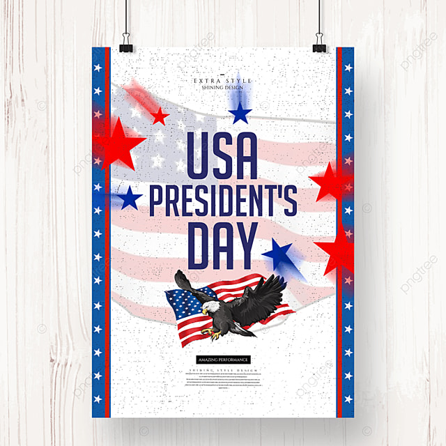 cartoon character retro american presidents day poster