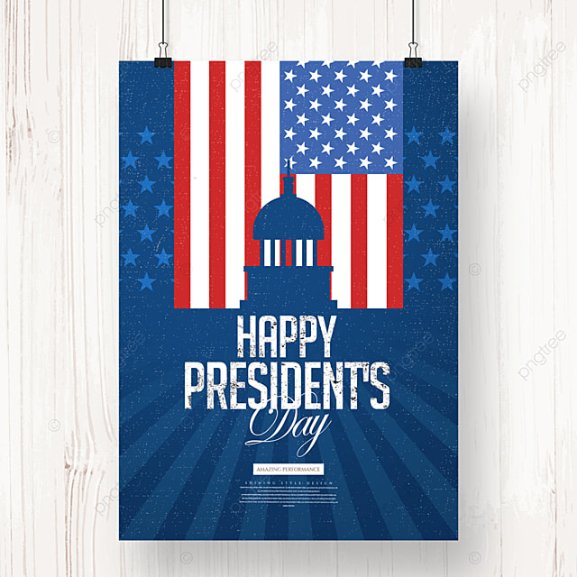 cartoon silhouette vintage american presidents day poster