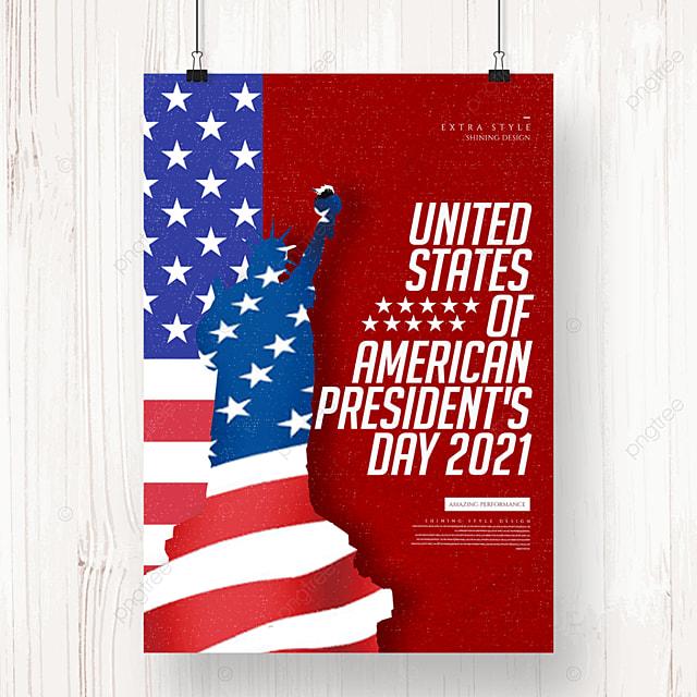 creative minimalist retro american presidents day holiday poster