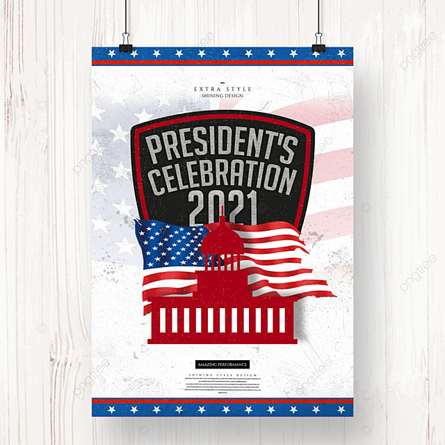 creative retro silhouette american presidents day holiday poster