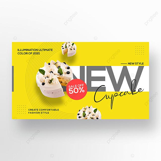 dessert cake trend color simple web banner