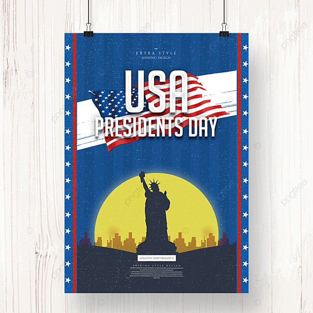 personality cartoon retro american presidents day holiday poster