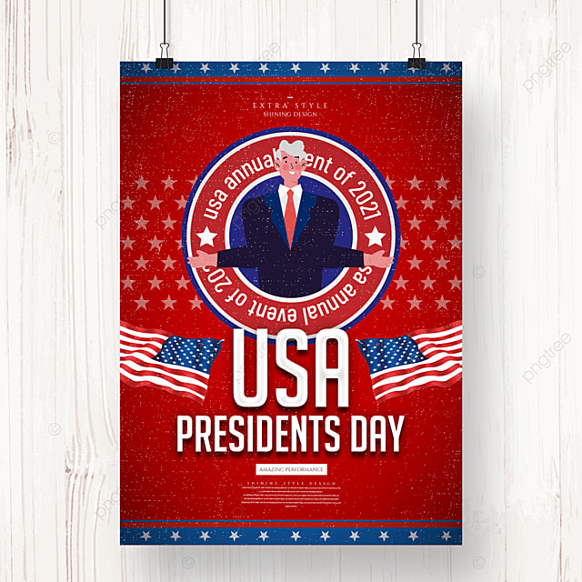 personality retro minimalist american presidents day poster