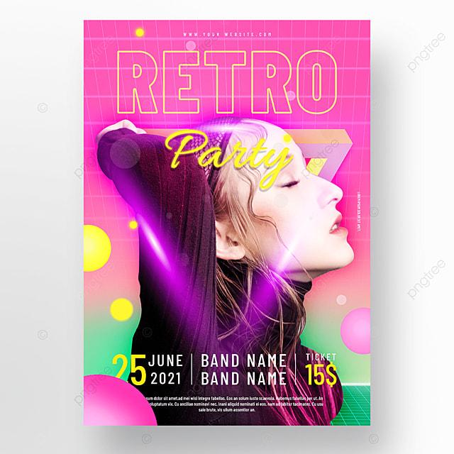 pink purple neon geometric retro party poster