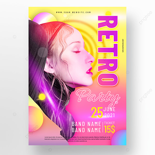 pink yellow neon retro party poster