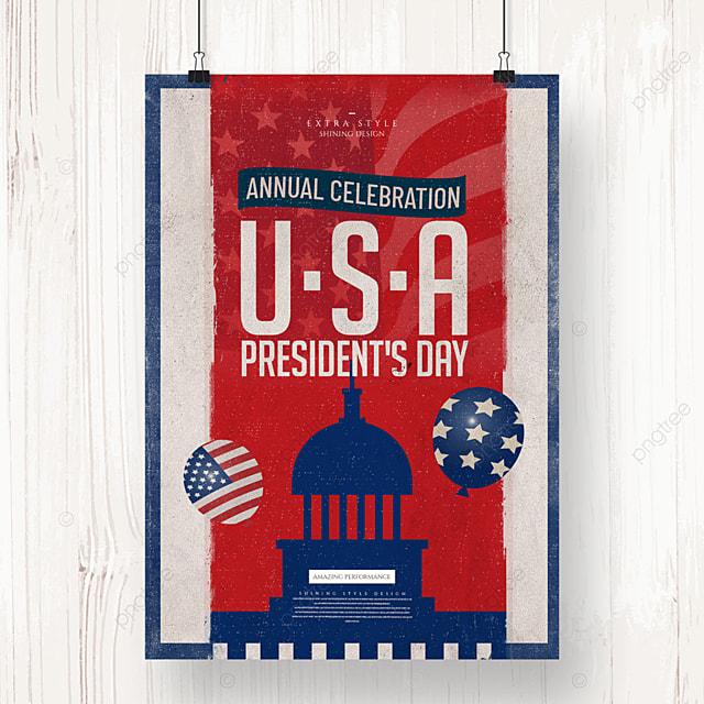 retro cartoon american presidents day holiday poster
