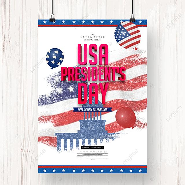 retro cartoon minimalist american presidents day holiday poster