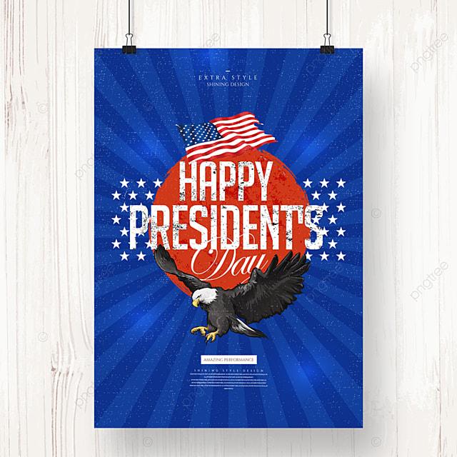retro minimalist cartoon american presidents day poster