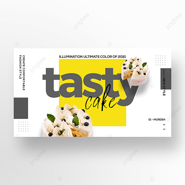 simple and fashionable color block gourmet cake web banner