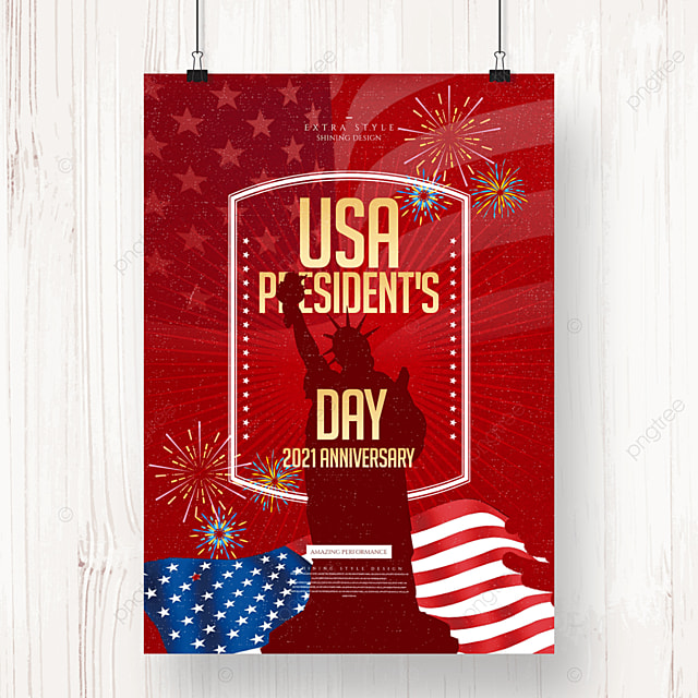 simple and stylish retro american presidents day holiday poster