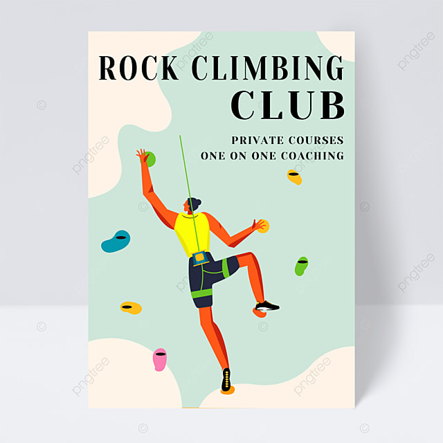sports fitness extreme rock climbing course leaflet